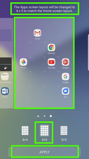 Use Galaxy Note 7 screen grid to customize app icon size ...